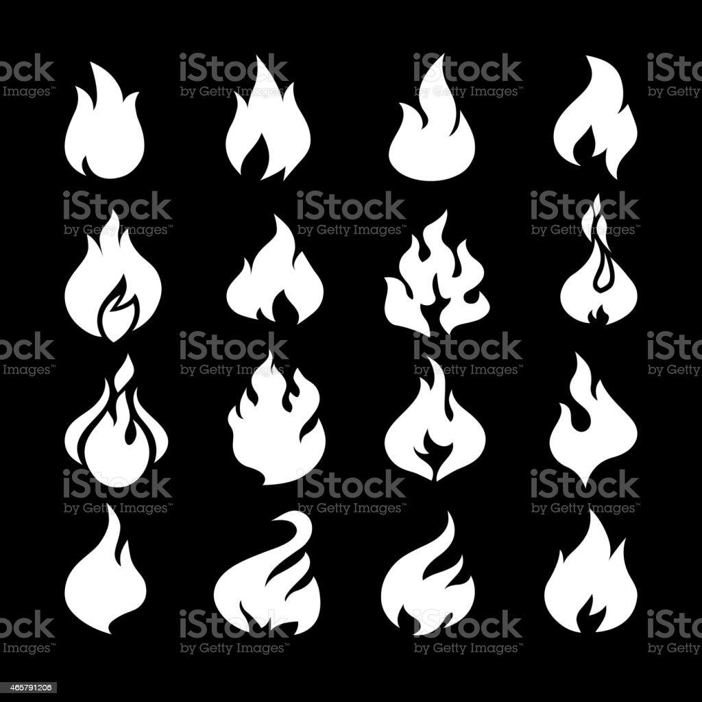Fire flames, set icons. vector art illustration