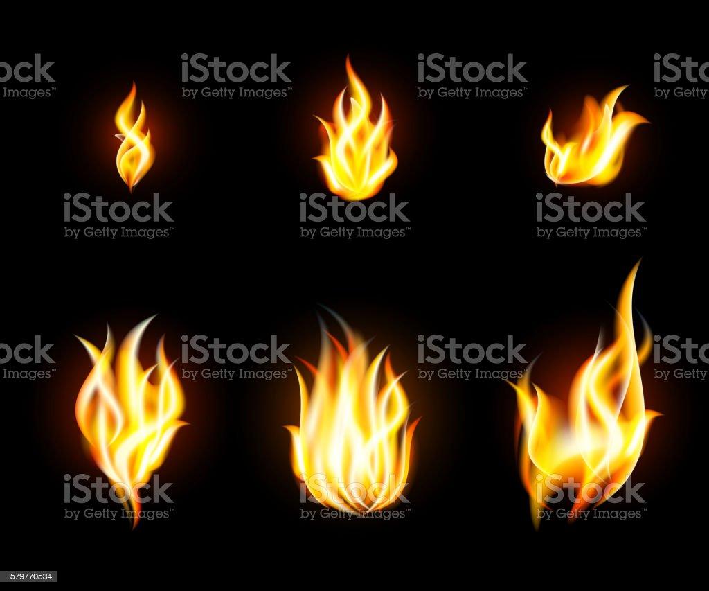 Fire Flames Set vector art illustration