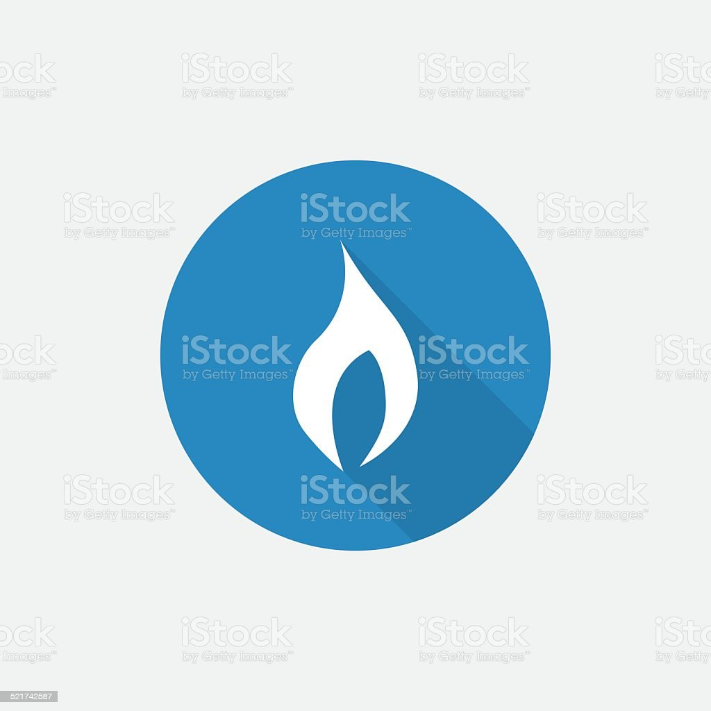 fire Flat Blue Simple Icon with long shadow vector art illustration
