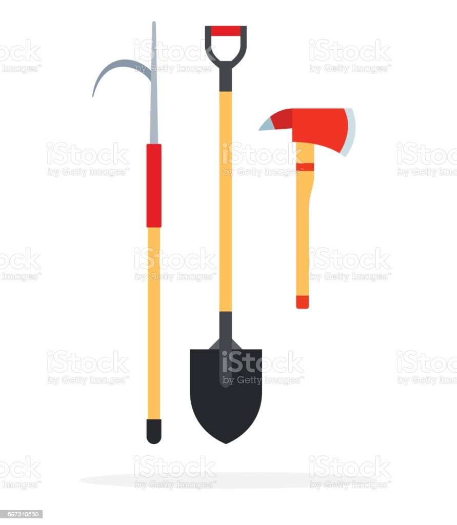 Fire gaff, shovel and an ax flat isolated vector vector art illustration