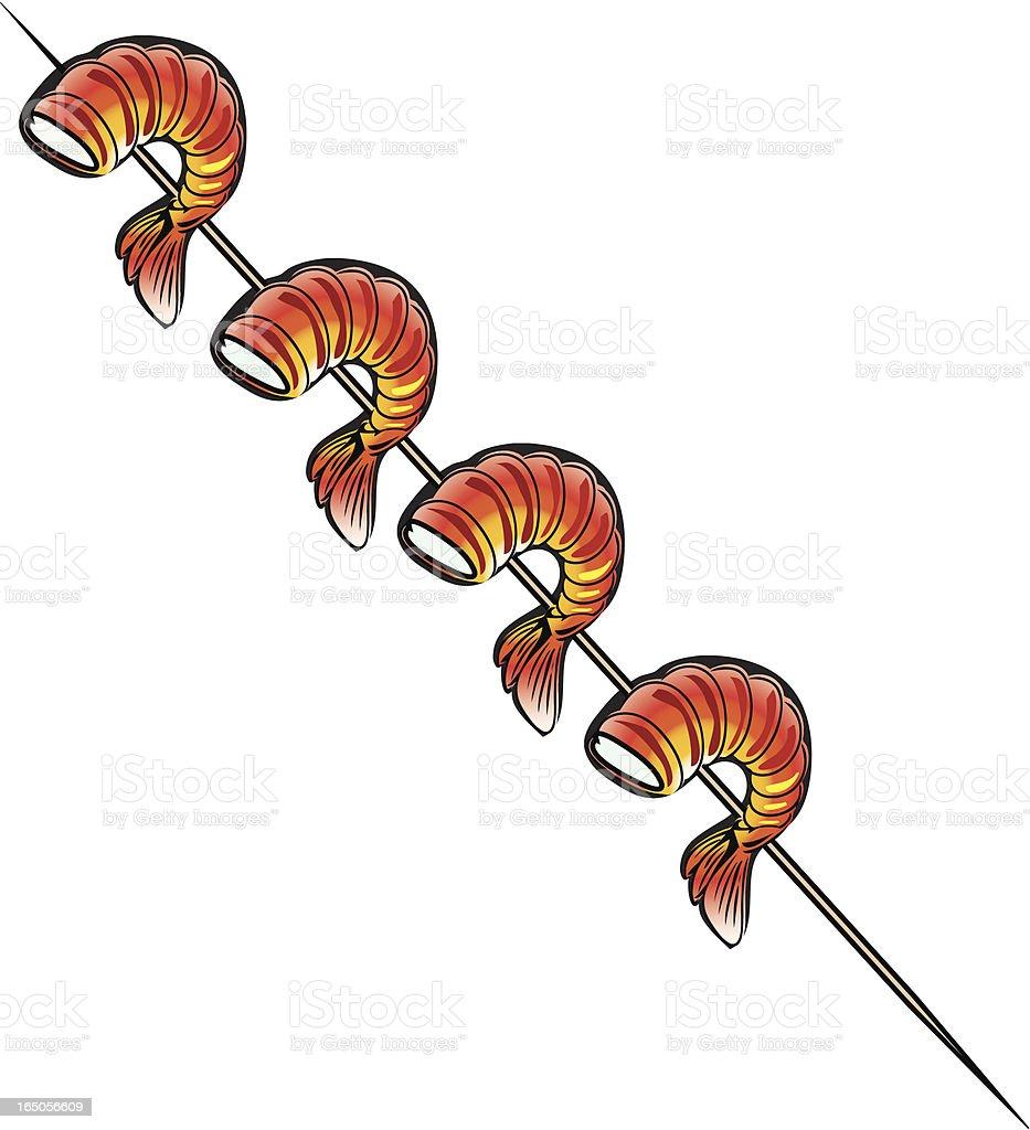 Fire Grilled Shrimp vector art illustration