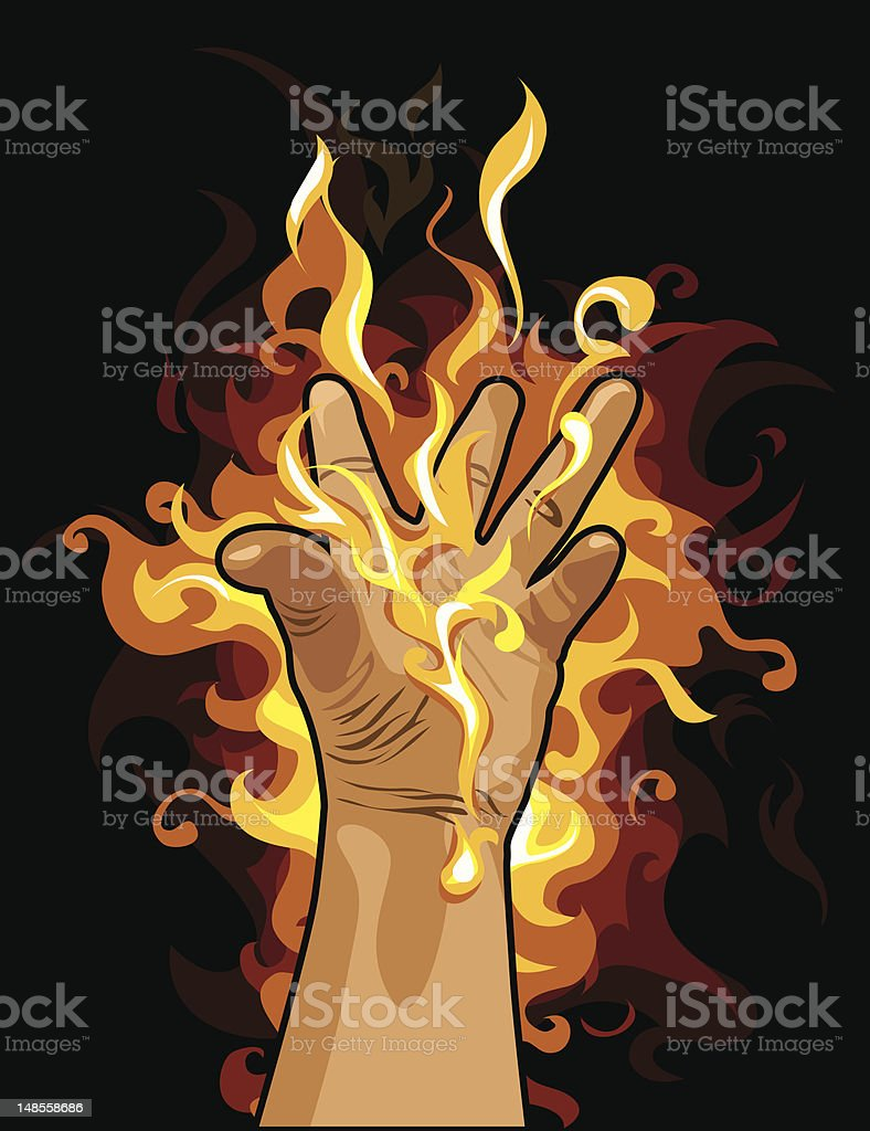 Fire hand royalty-free stock vector art