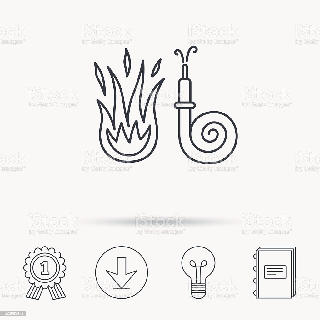 Fire hose reel icon. Firefighters station sign. vector art illustration