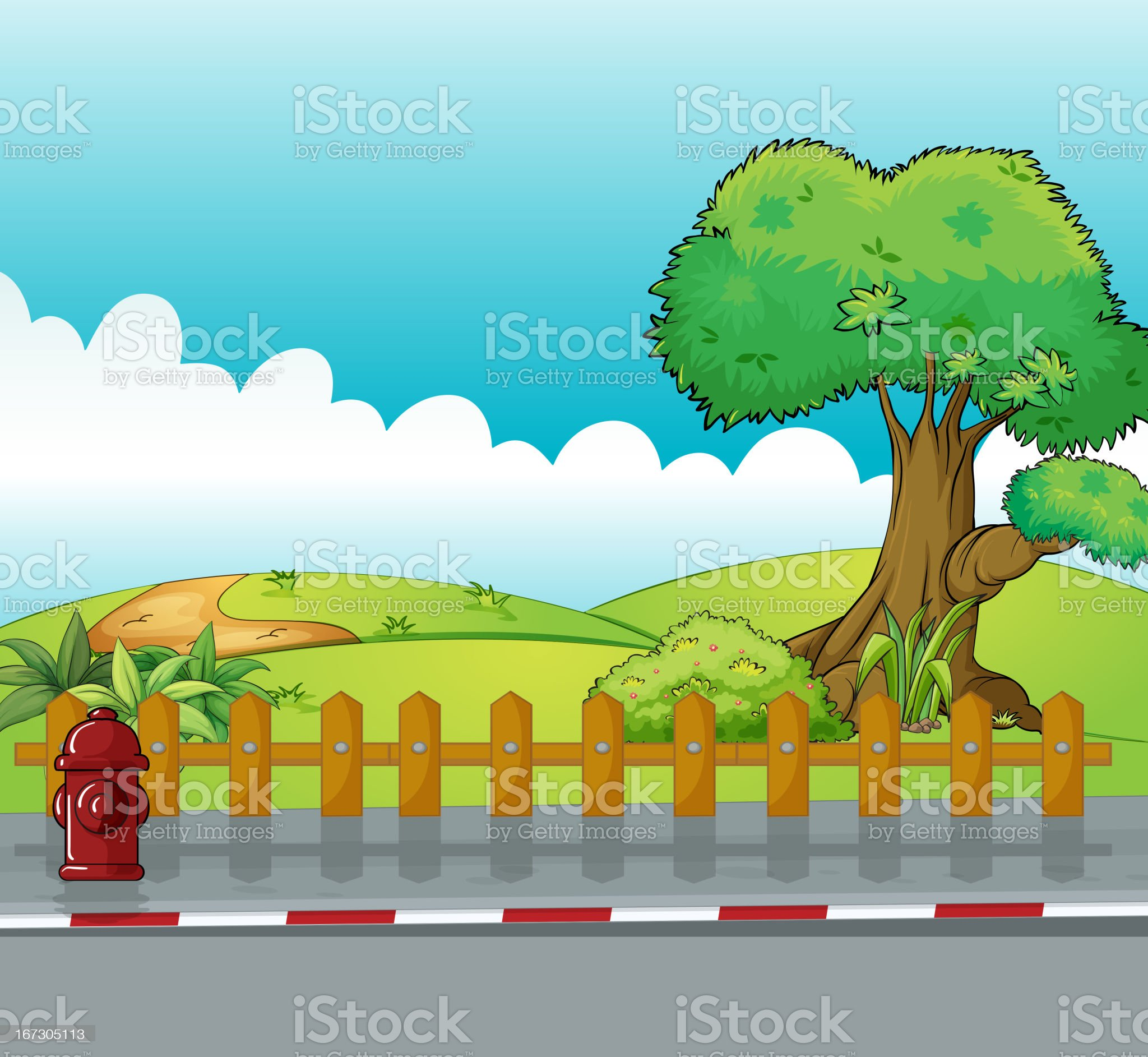 Fire hydrant and a beautiful landscape royalty-free stock vector art