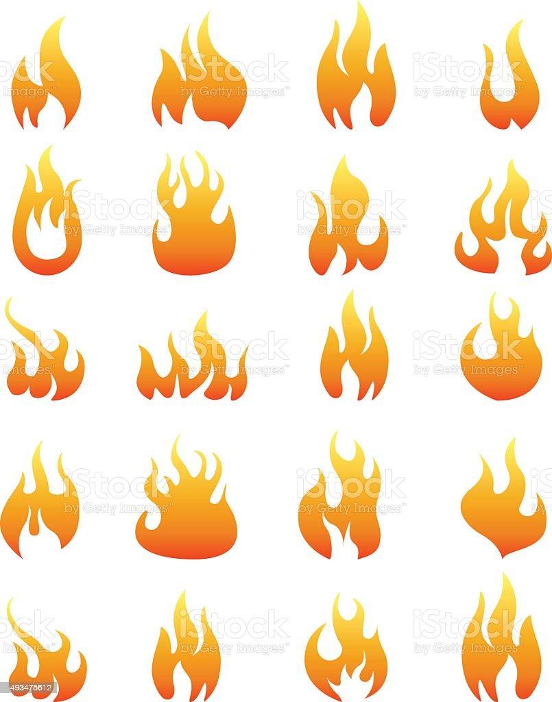 Fire icon set vector art illustration