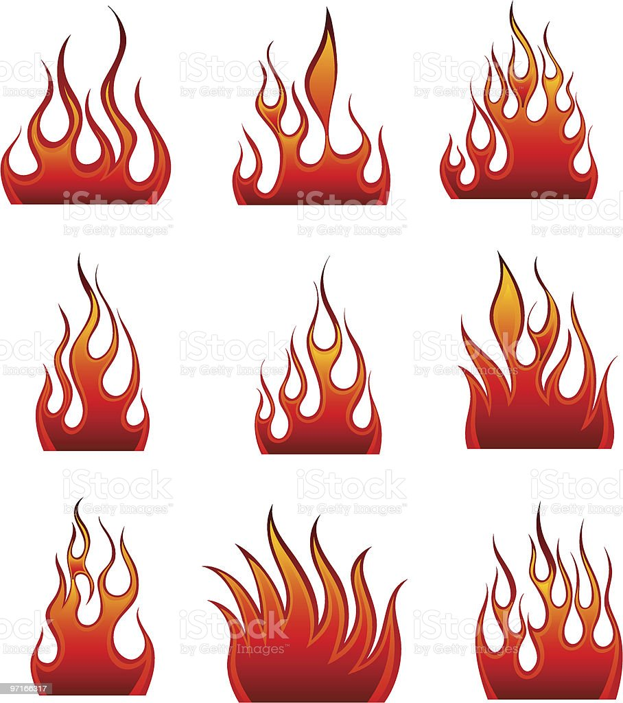 fire icon set royalty-free stock vector art