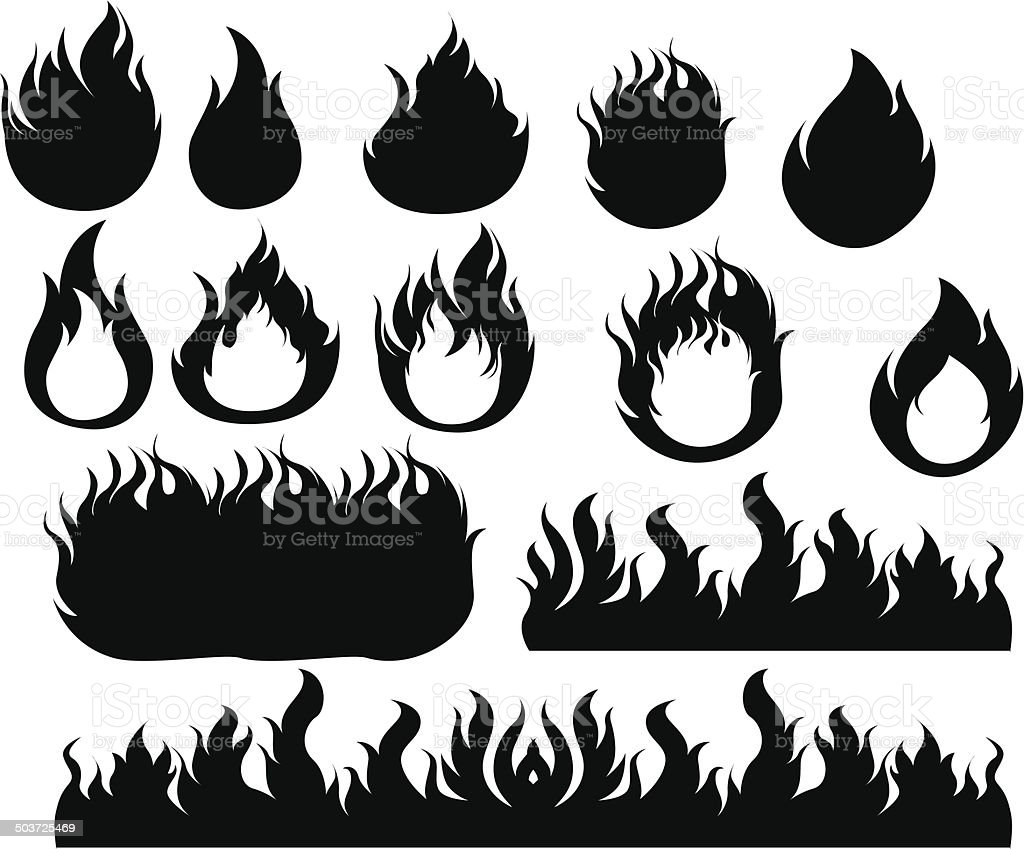 Fire icons set Black vector art illustration