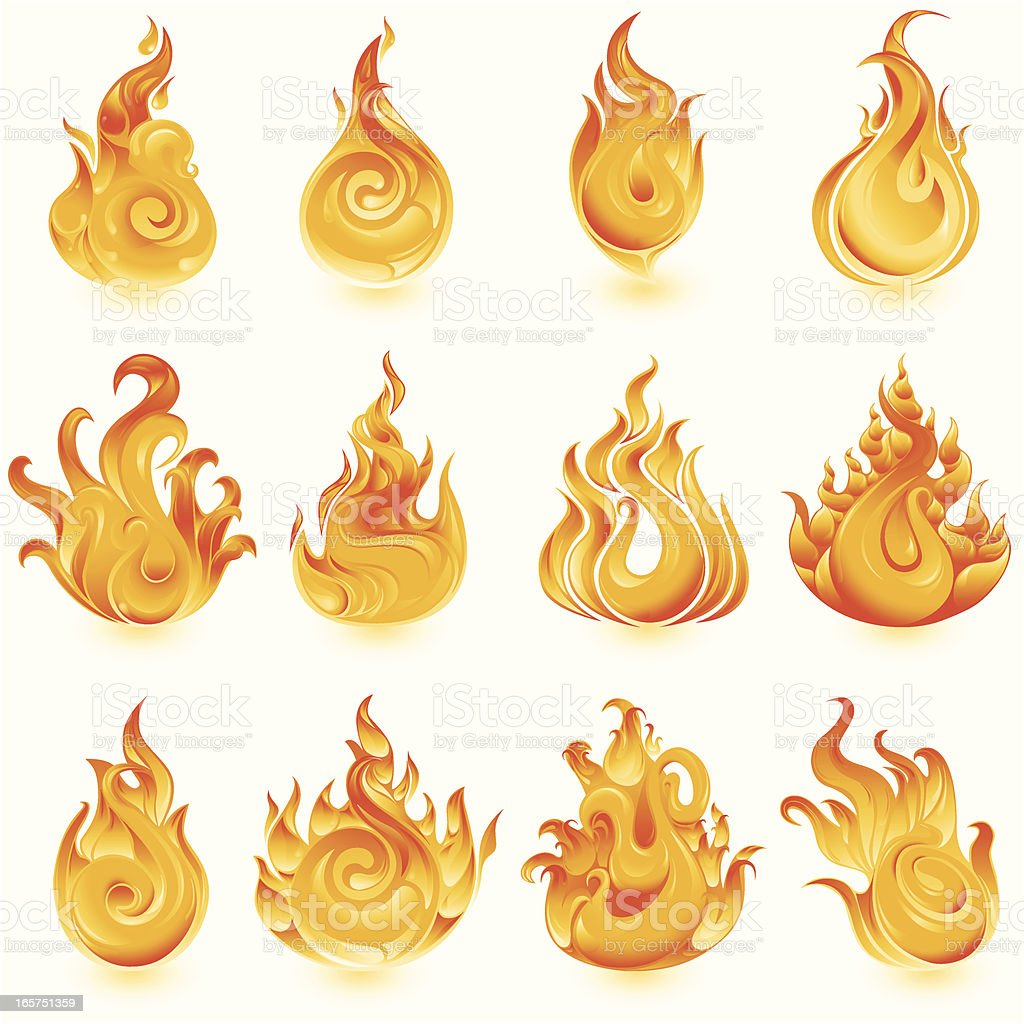 Fire icons royalty-free stock vector art