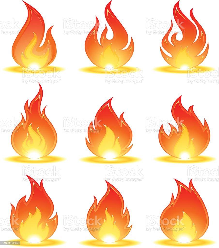 fire illustrations set vector art illustration