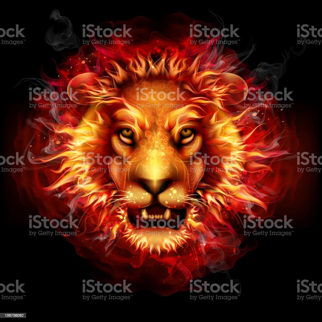 Fire lion vector art illustration