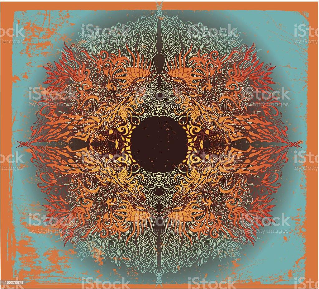 fire mandala vector art illustration