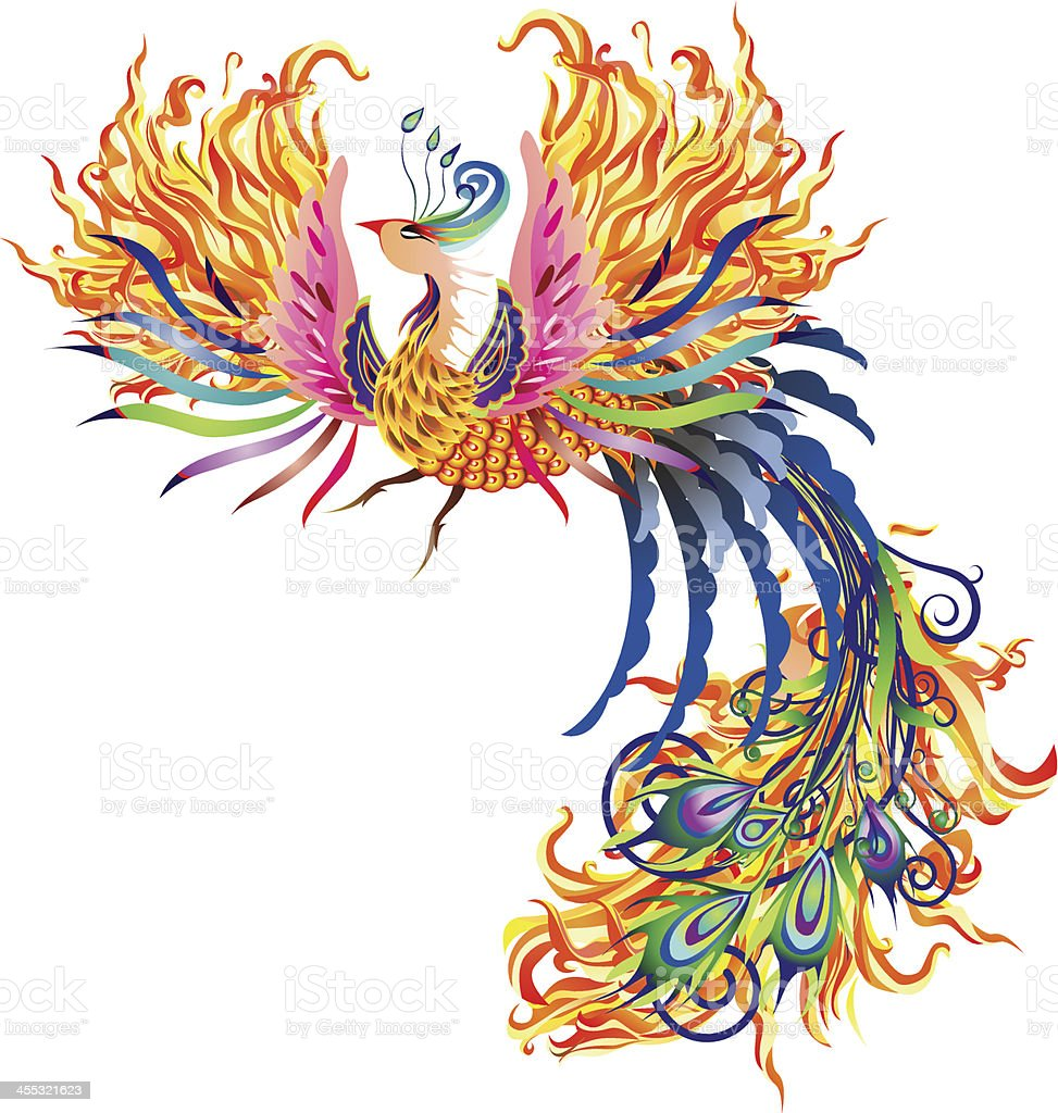 Fire Phoenix vector art illustration