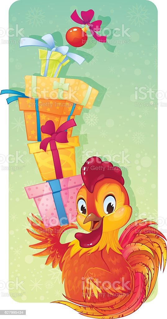 Fire Rooster with Gift Boxes vector art illustration