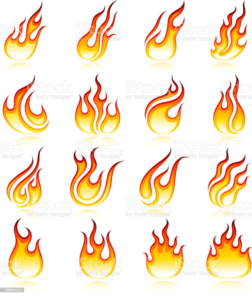 Fire royalty free vector icon set collection royalty-free stock vector art