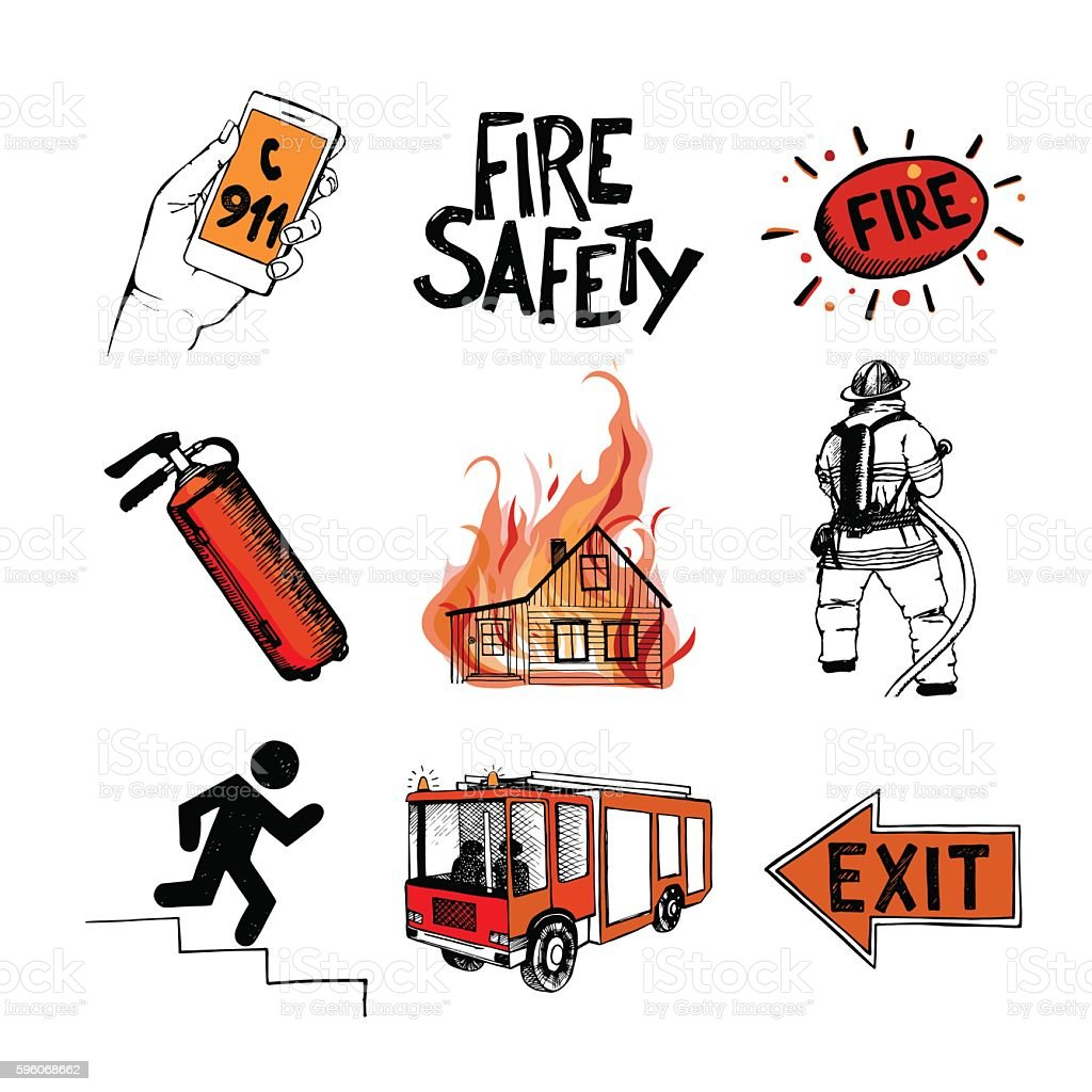 Fire safety and means of salvation. Icons set. vector art illustration