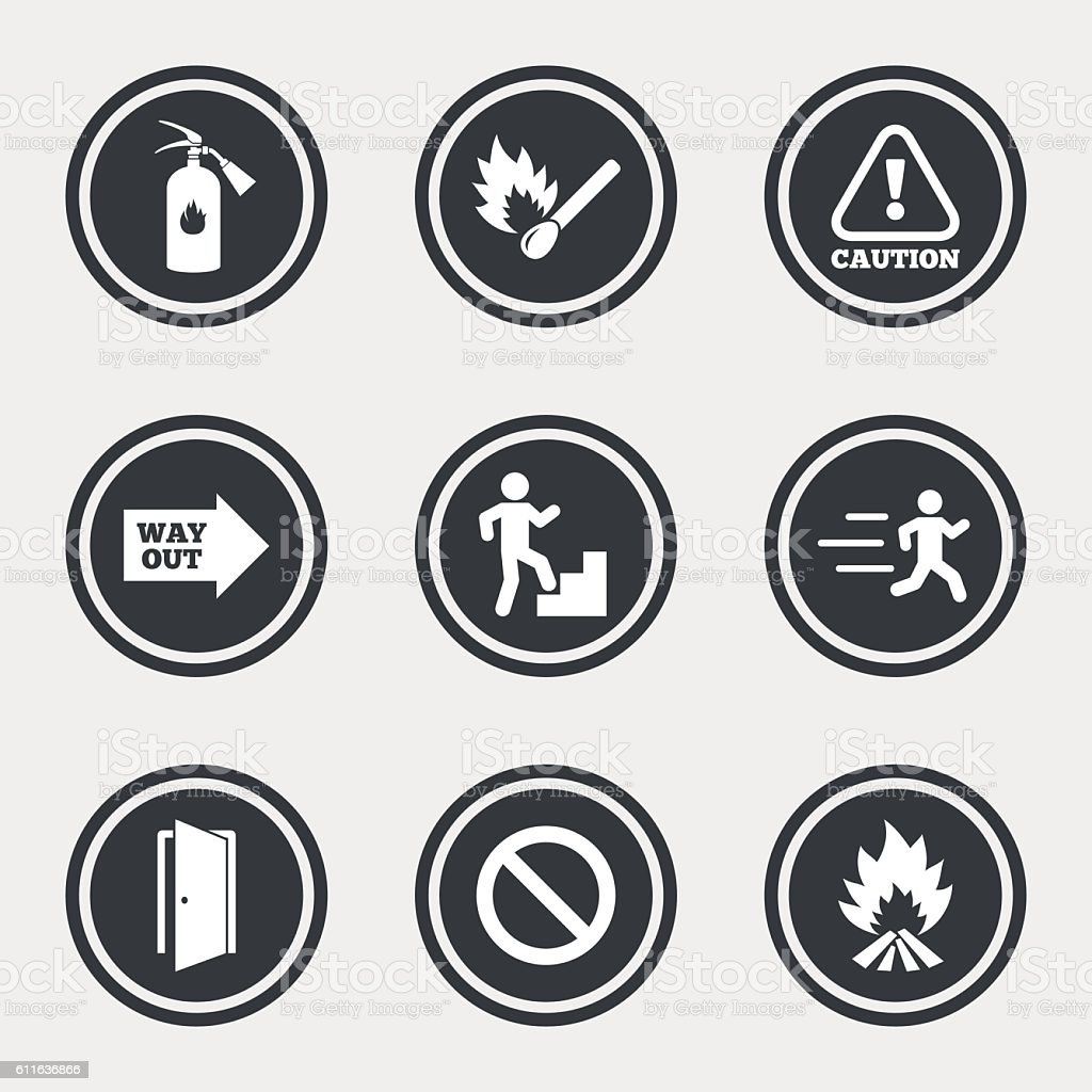 Fire safety, emergency icons. Extinguisher sign. vector art illustration