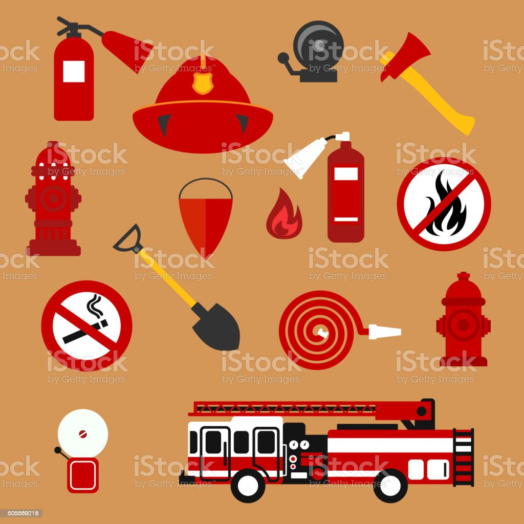 Fire safety, firefighter and protection flat icons vector art illustration
