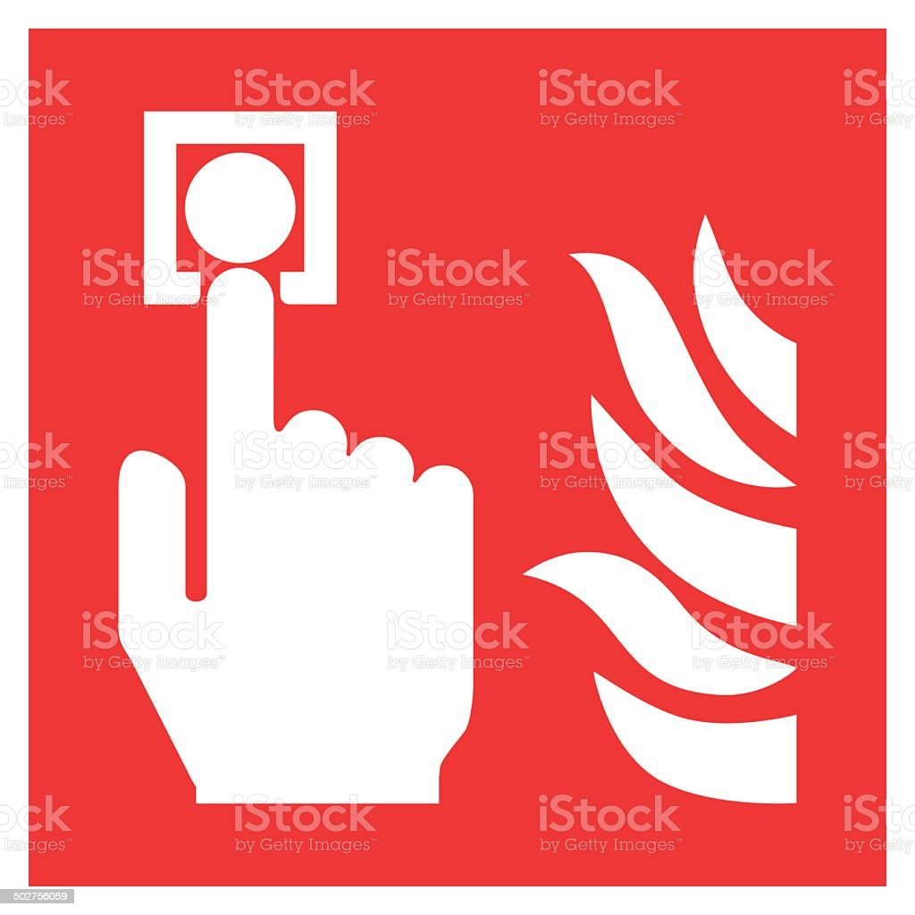 Fire safety sign FIRE ALARM CALL POINT vector art illustration