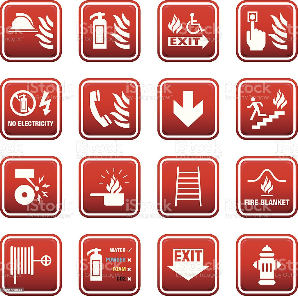 Fire Safety Signs vector art illustration