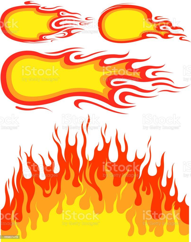 fire set vector art illustration