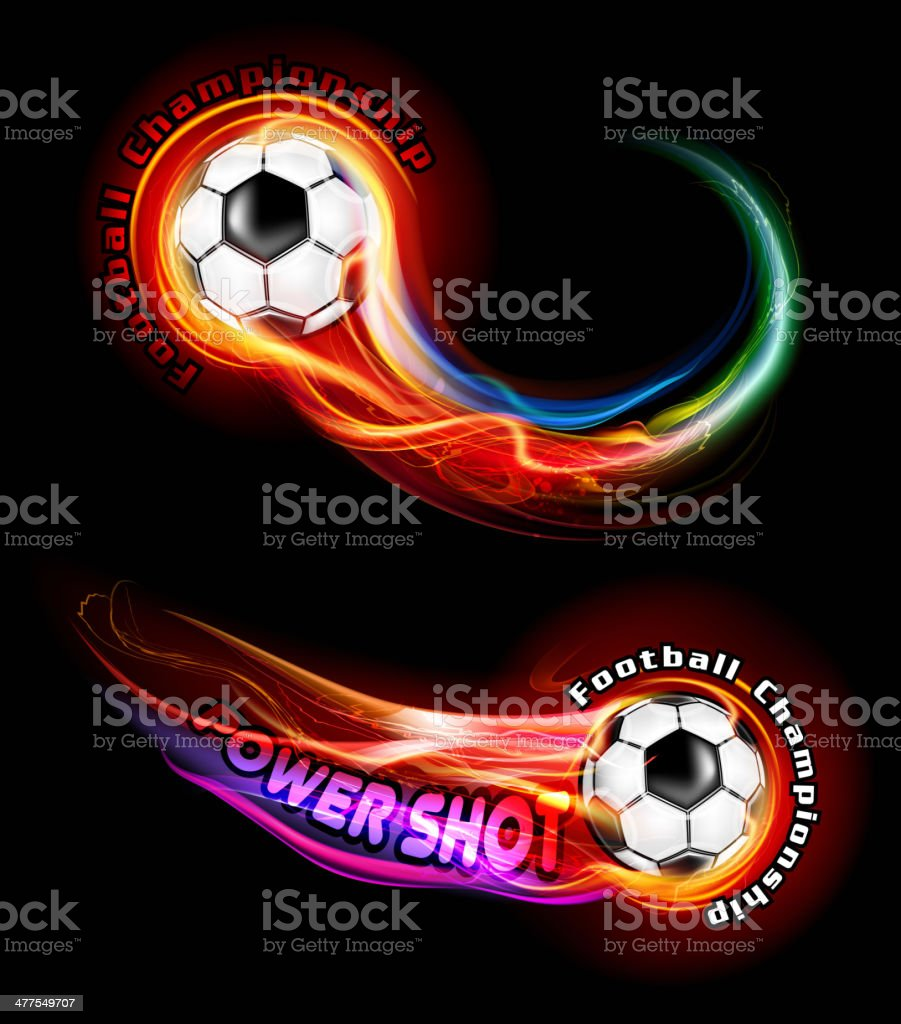 Fire shot soccer ball royalty-free stock vector art