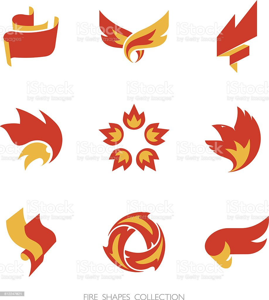 Fire signs. Vector icons set. vector art illustration