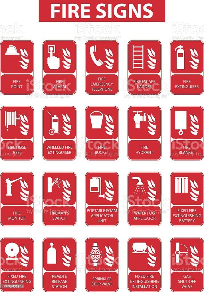 fire signs vector art illustration