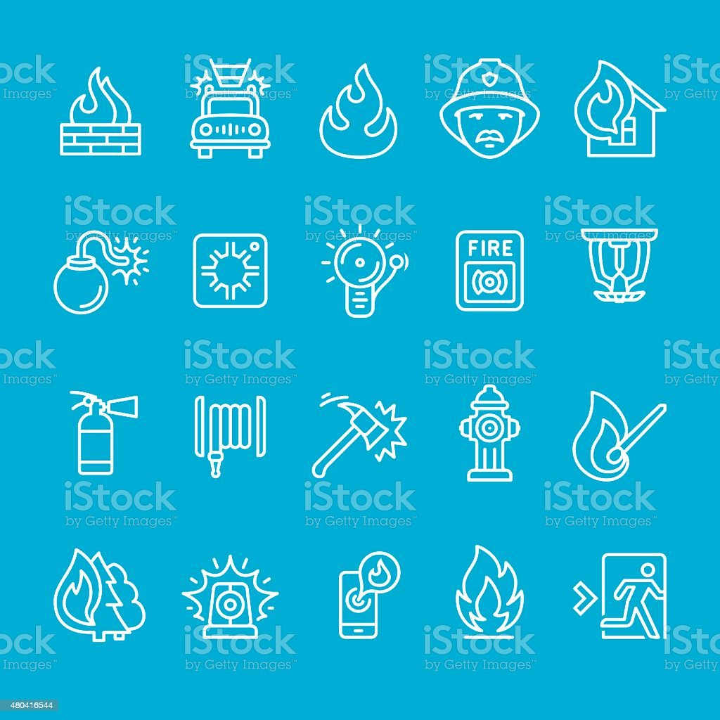 Fire Station and Firefighter icons collection vector art illustration