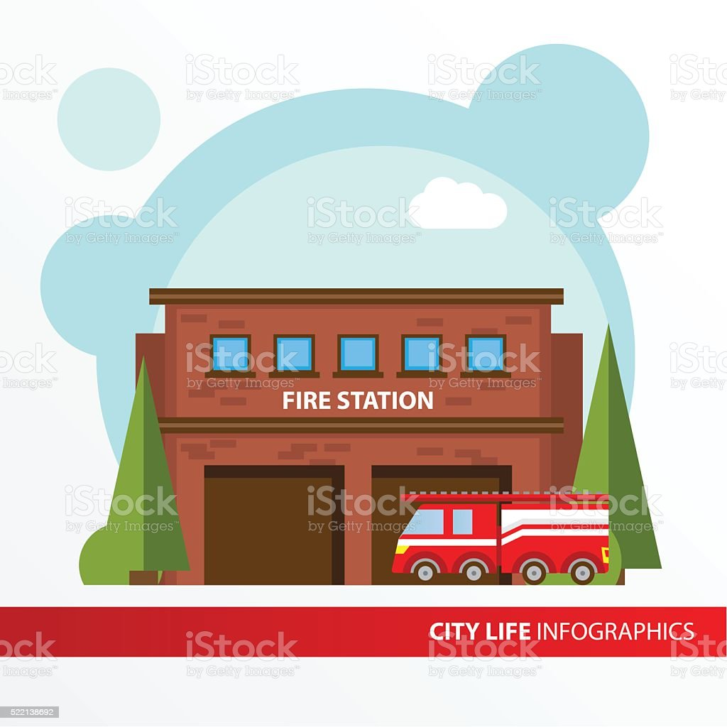 Fire station building icon in the flat style. vector art illustration