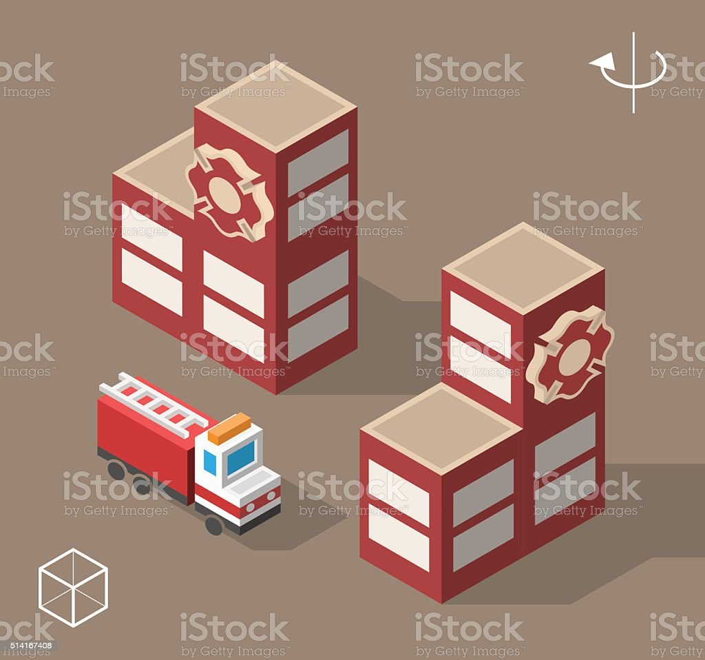 Fire Station with Shadows. vector art illustration