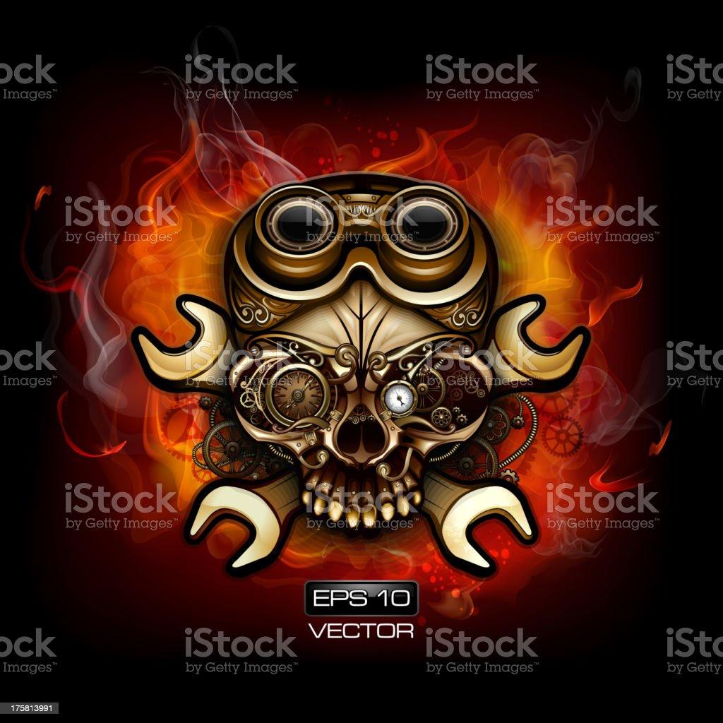 Fire Steampunk Skull royalty-free stock vector art