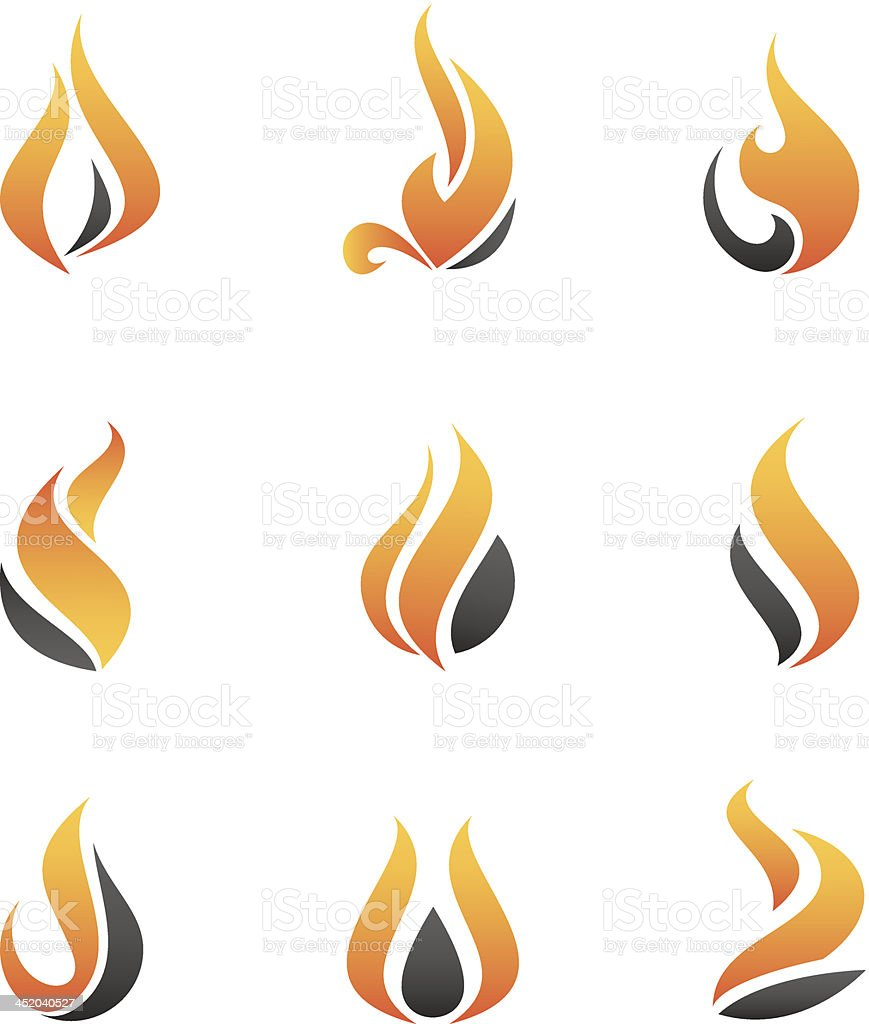 Fire symbol and icons vector art illustration