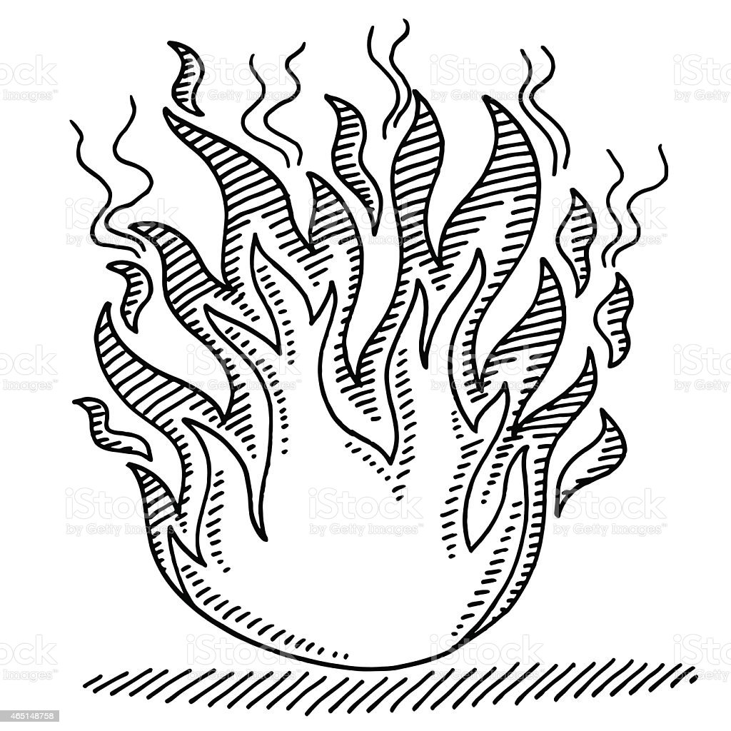 Line Drawing Fire : Símbolo de fuego dibujo illustracion libre derechos
