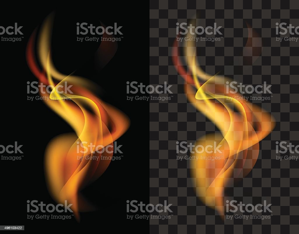 fire transparent translucent flame torch vector art illustration
