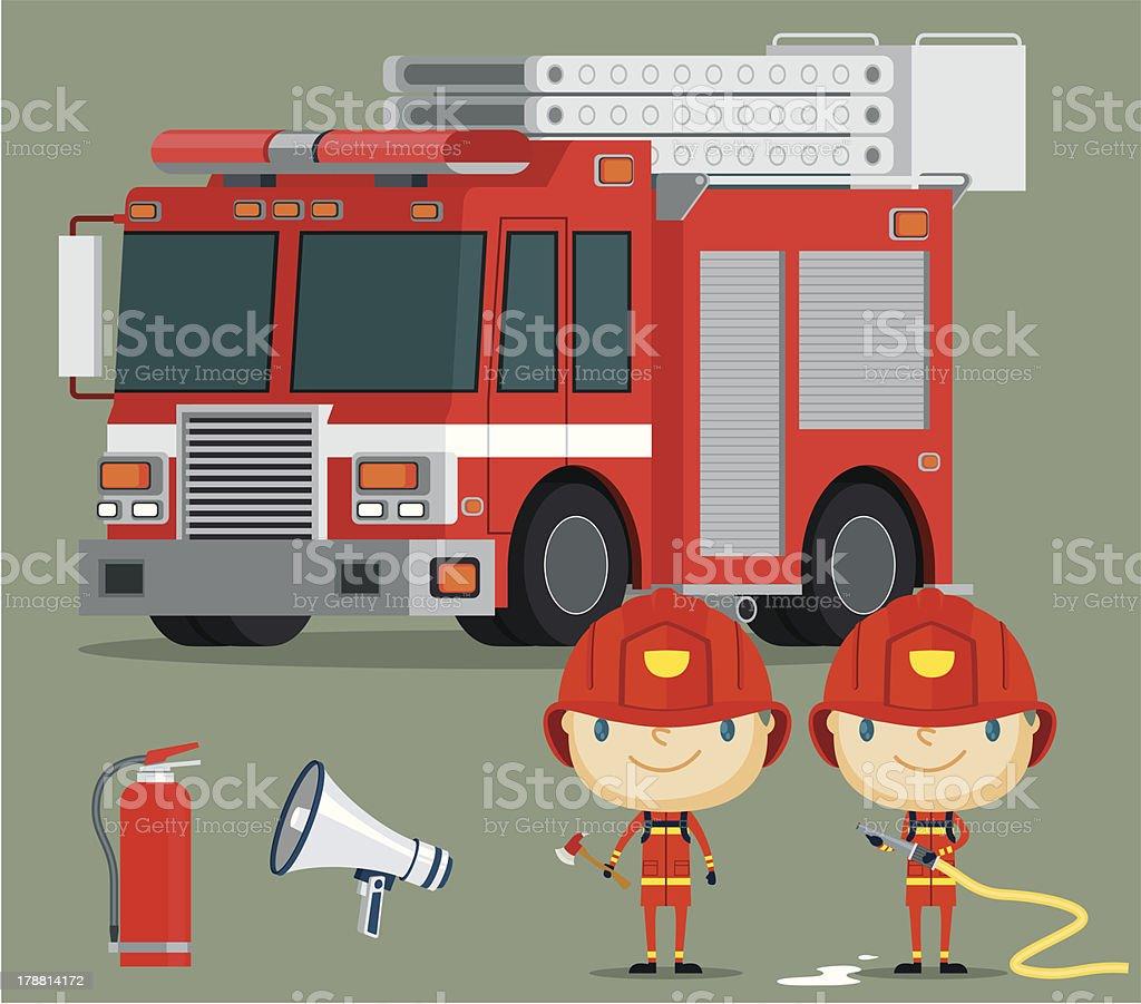 Fire Truck and Fireman vector art illustration