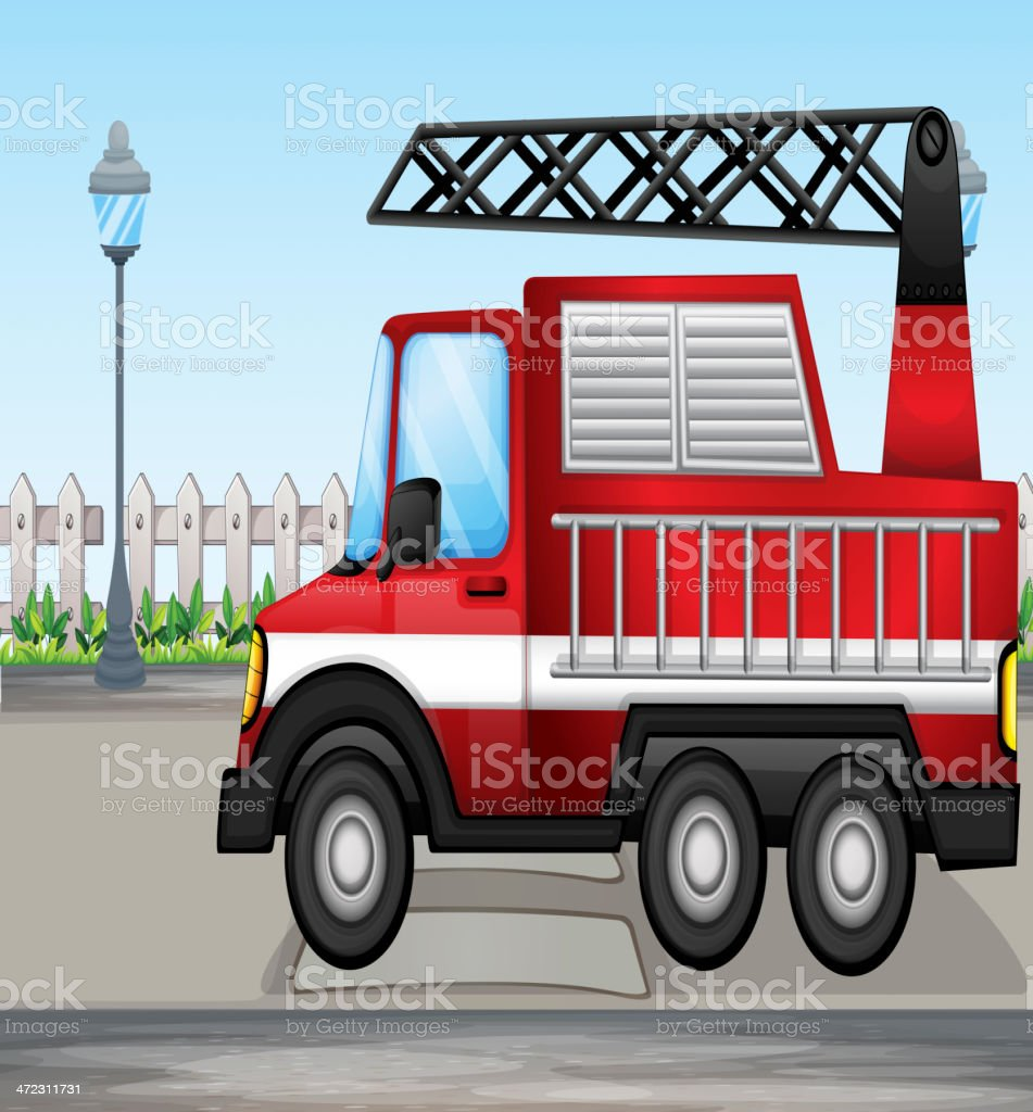 Fire truck at the street royalty-free stock vector art