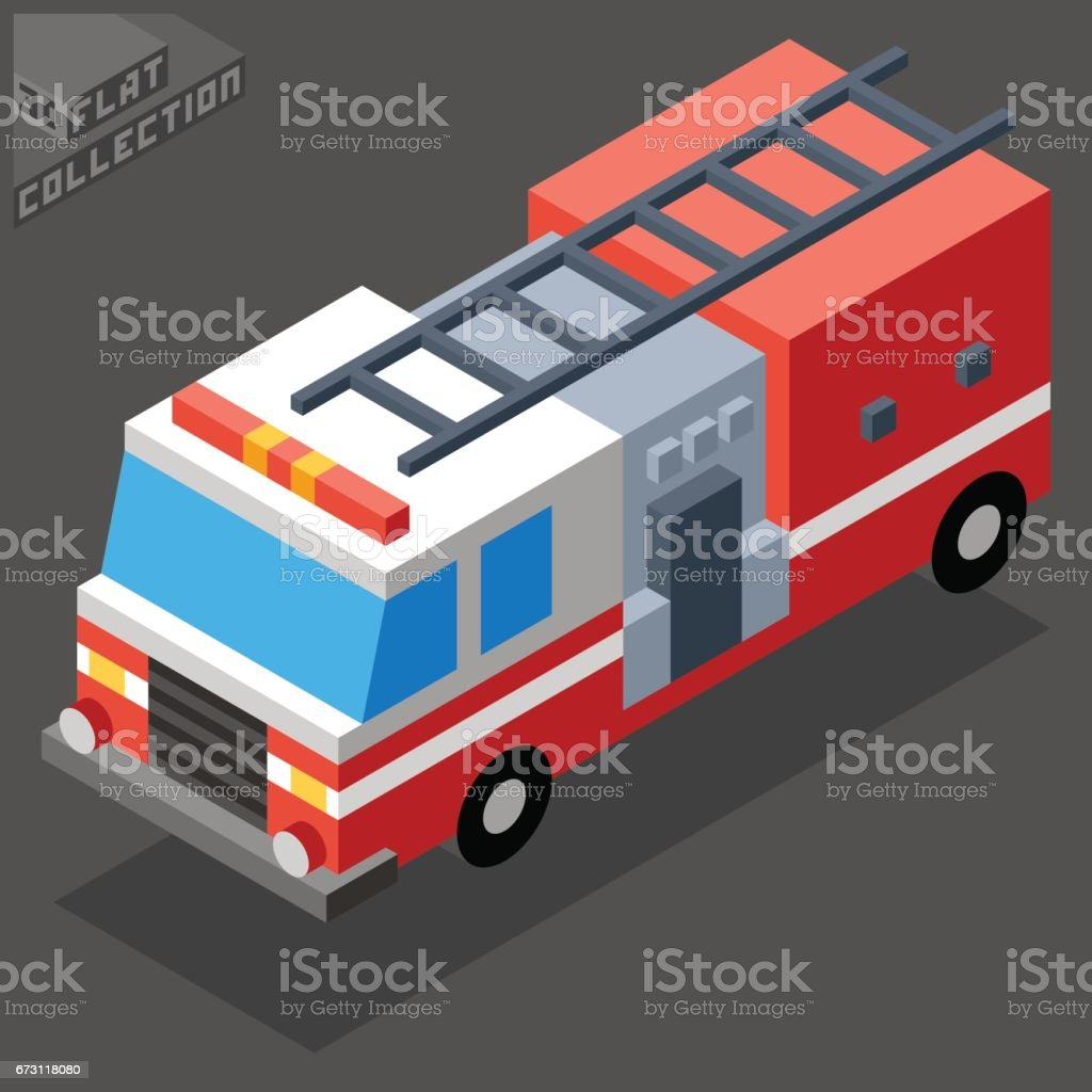 Fire Truck Icon. 3D Isometric Low Poly Flat Design. vector art illustration