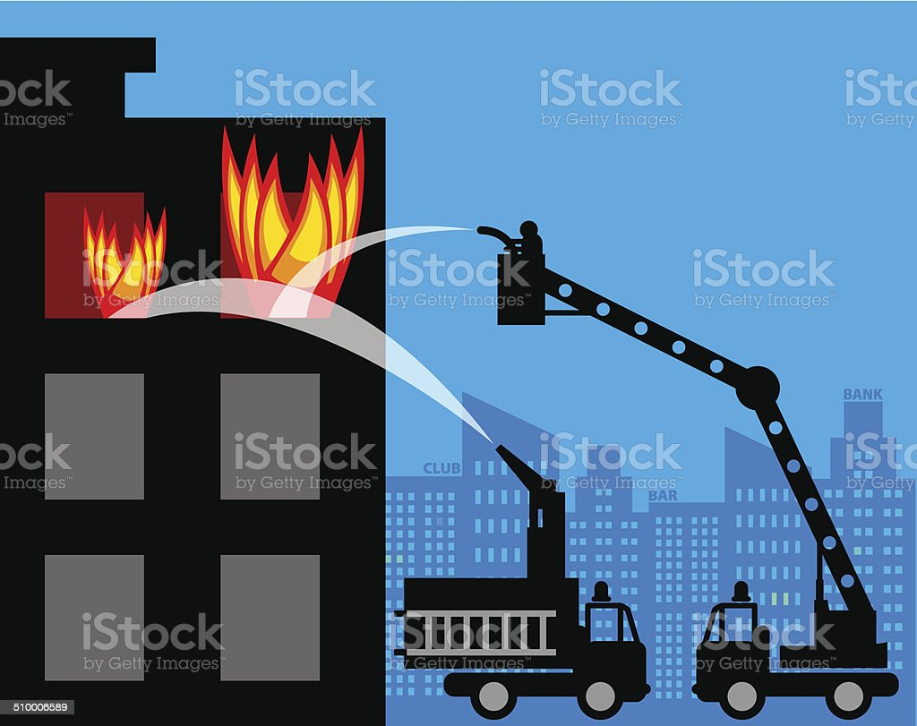 Fire trucks vector art illustration