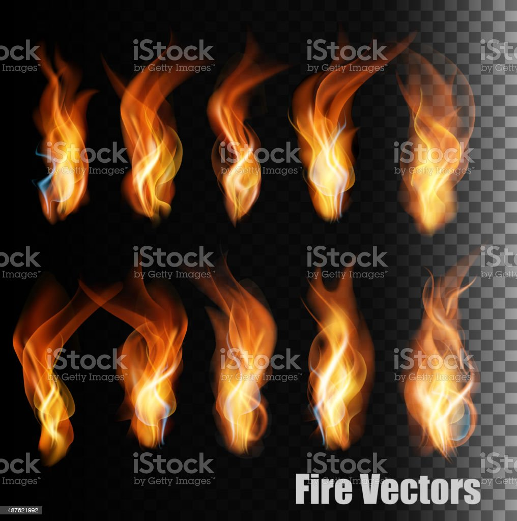 Fire vectors on transparent background. vector art illustration