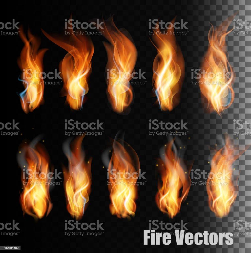 Fire vectors on transparent background. vector art illustration