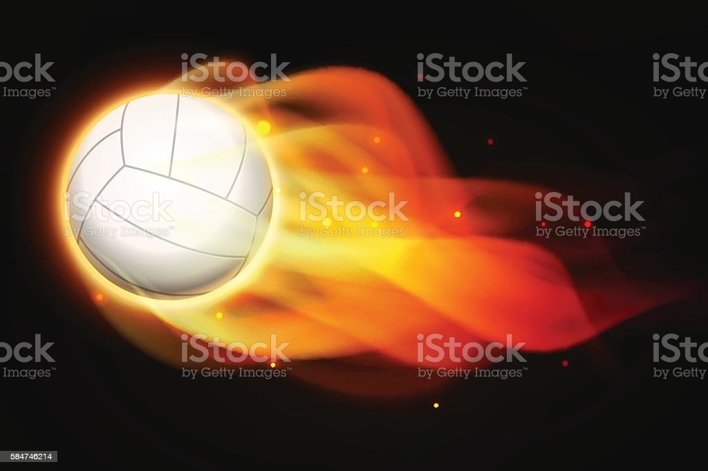 Fire volleyball royalty-free stock vector art