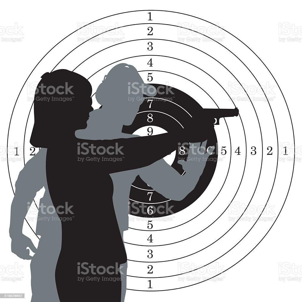 Firearm instructor and student vector art illustration