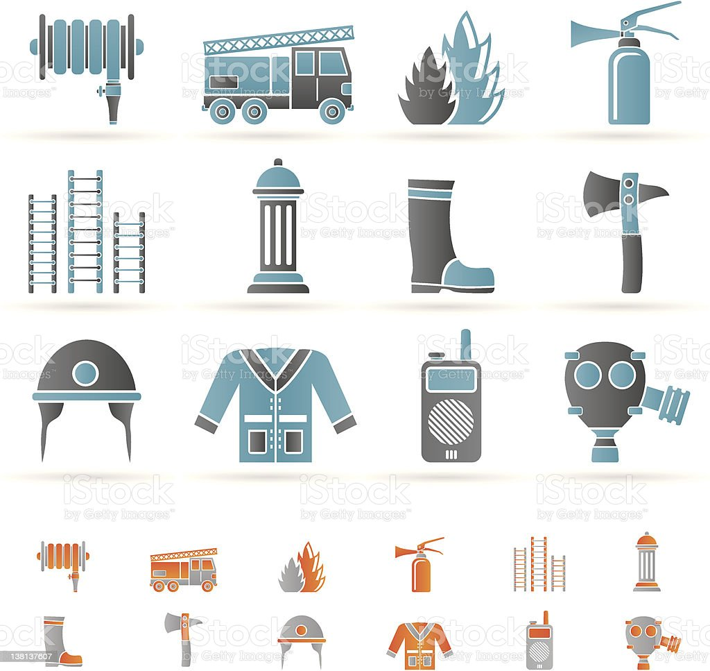 fire-brigade and fireman equipment icons royalty-free stock vector art