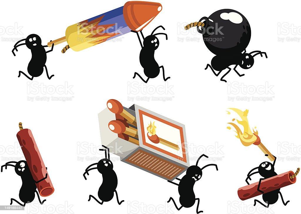 Firecracker picnic ants running (vector) vector art illustration