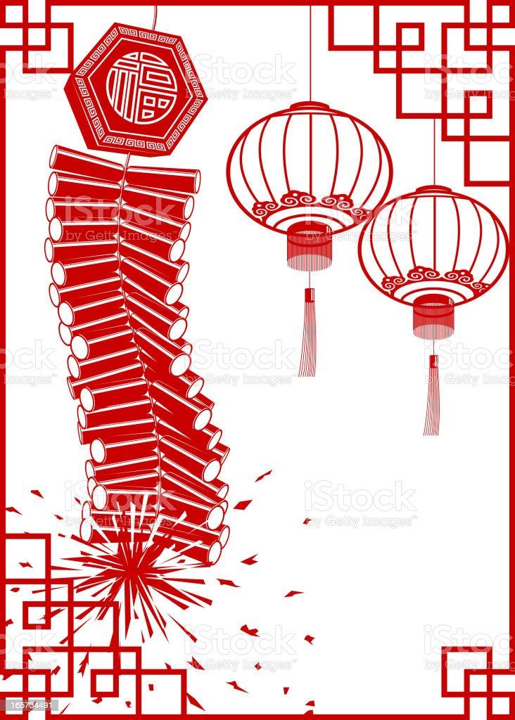Firecracker with Lantern Chinese Paper-cut Frame Art royalty-free stock vector art