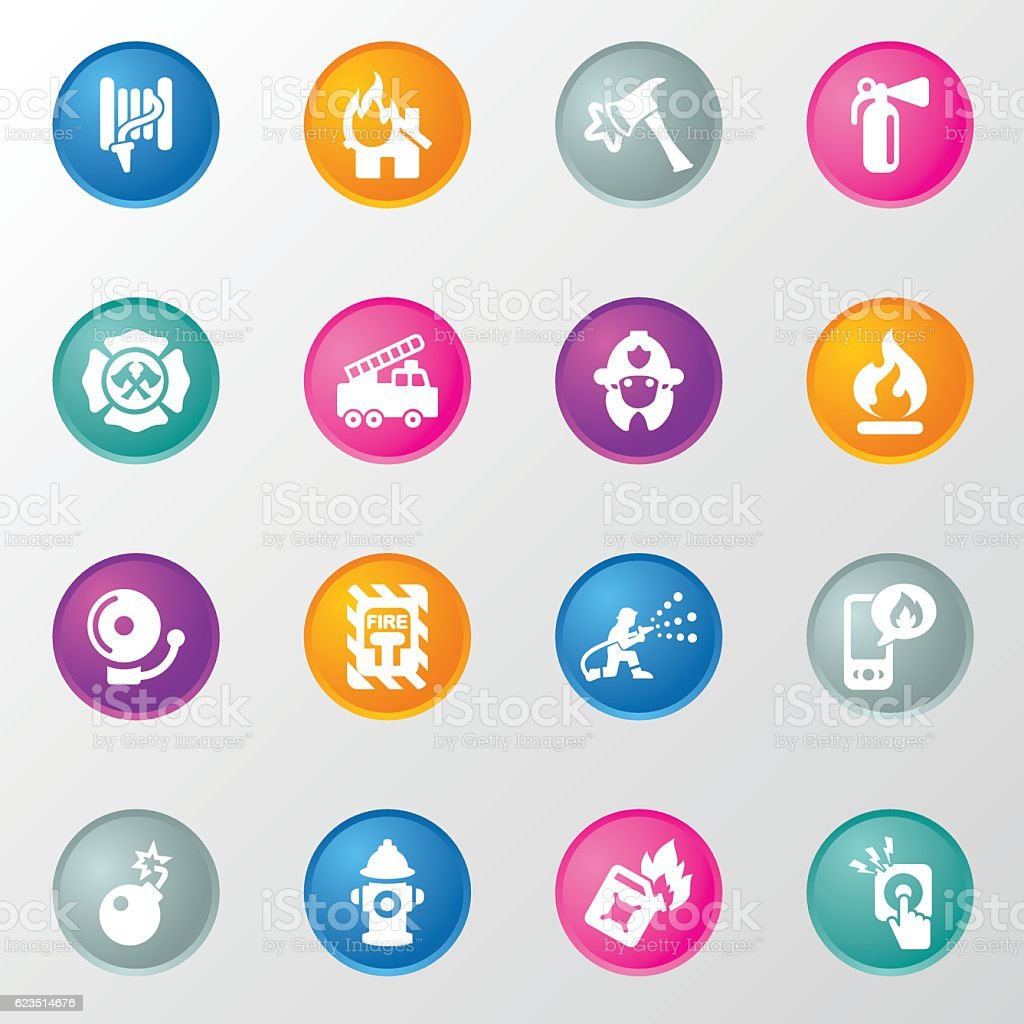 Firefighter and Fire Department Circle Color Icons vector art illustration