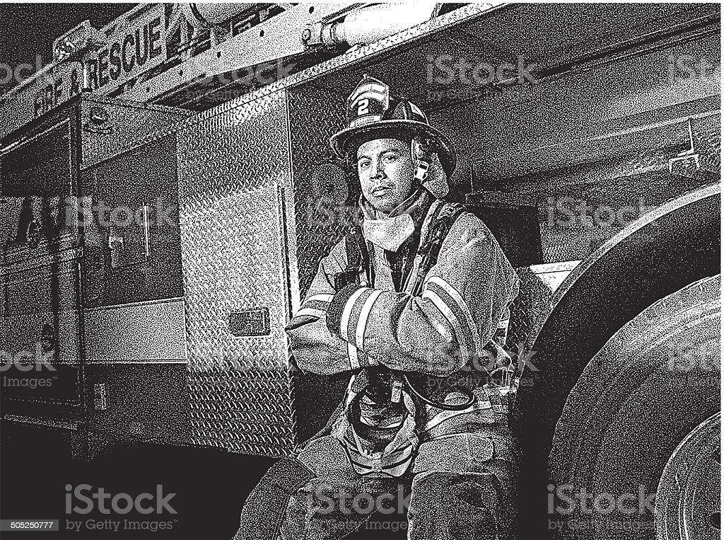 Firefighter and Fire Truck royalty-free stock vector art