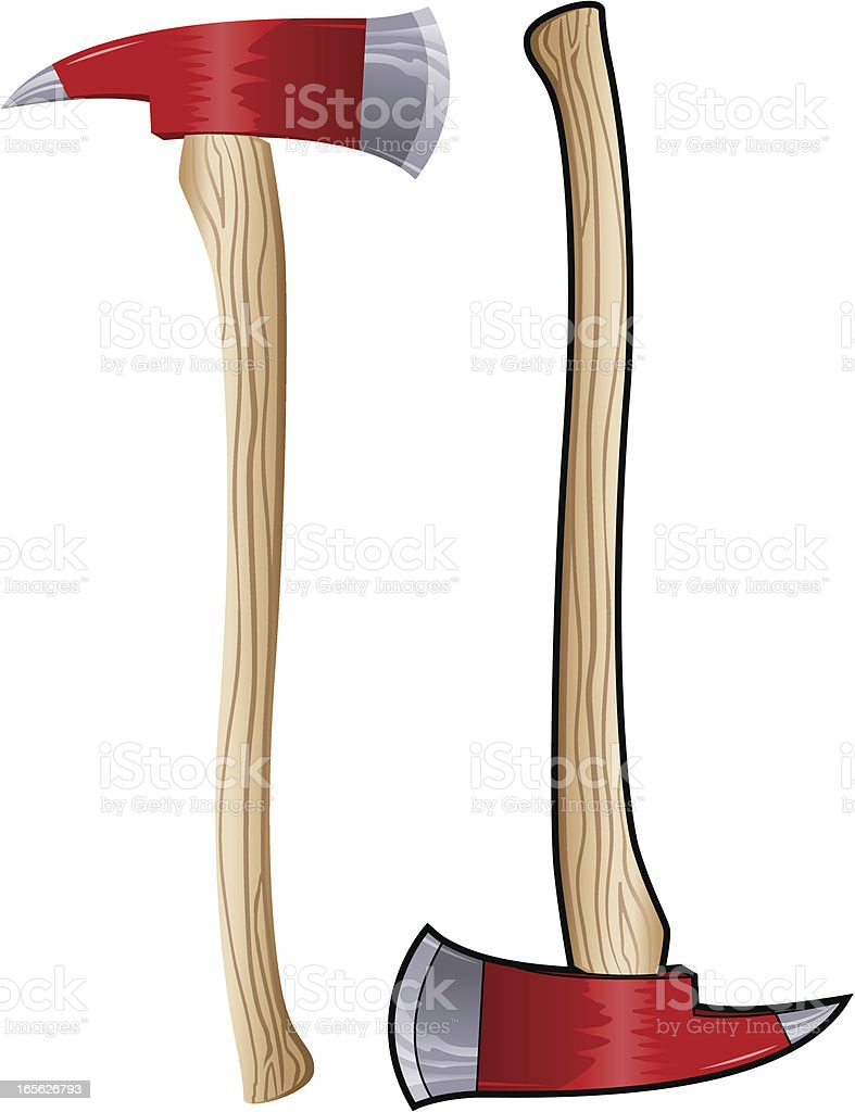 FIrefighter Axe with Wood Handle royalty-free stock vector art