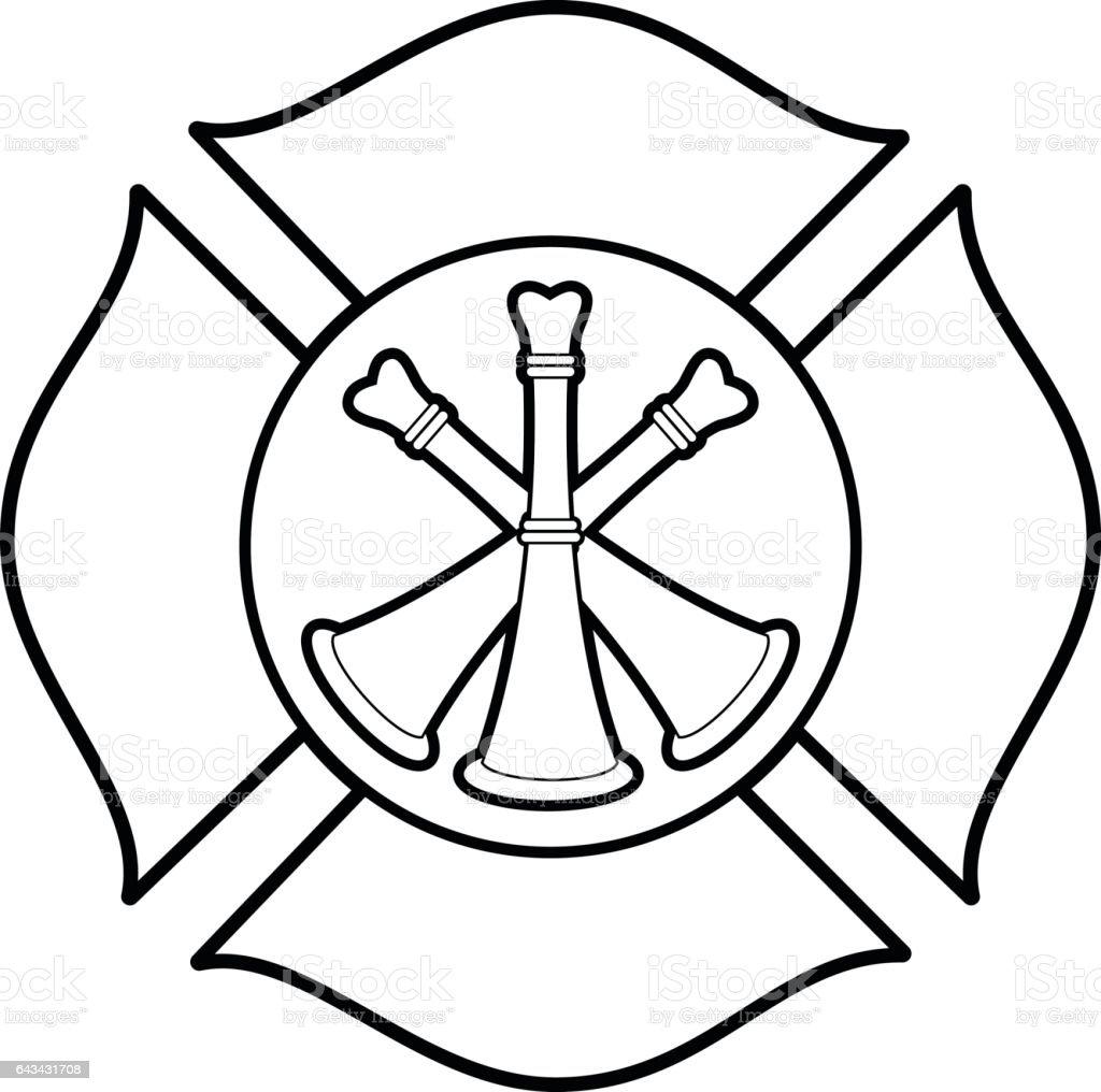Firefighter Bugle Badge Illustration vector art illustration