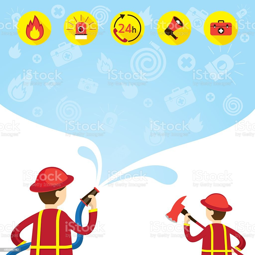 Firefighter carry Hose Flushing Water with Icons and Background vector art illustration